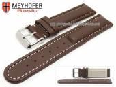 Uhrenarmband Batea 18mm dunkelbraun Leder glatt matt helle Naht von MEYHOFER (Schließenanstoß 18 mm)