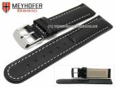 Uhrenarmband Batea 18mm schwarz Leder glatt matt helle Naht von MEYHOFER (Schließenanstoß 18 mm)