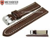 Uhrenarmband XL Sanford 24mm dunkelbraun Leder Alligator-Prägung helle Naht von Meyhofer (Schließenanstoß 22 mm)