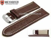 Uhrenarmband XL Sanford 28mm dunkelbraun Leder Alligator-Prägung helle Naht von Meyhofer (Schließenanstoß 26 mm)