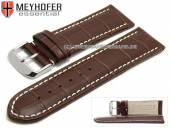 Uhrenarmband Petare 28mm dunkelbraun Leder Alligator-Prägung helle Naht von Meyhofer (Schließenanstoß 26 mm)