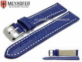 Uhrenarmband XL Sanford 22mm königsblau Leder Alligator-Prägung helle Naht von Meyhofer (Schließenanstoß 20 mm)