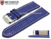 Uhrenarmband Petare 28mm königsblau Leder Alligator-Prägung helle Naht von Meyhofer (Schließenanstoß 26 mm)