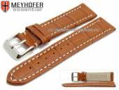 Uhrenarmband XL Sanford 24mm mittelbraun Leder Alligator-Prägung helle Naht von Meyhofer (Schließenanstoß 22 mm)