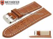 Uhrenarmband Petare 28mm mittelbraun Leder Alligator-Prägung helle Naht von Meyhofer (Schließenanstoß 26 mm)