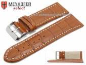 Uhrenarmband XL Sanford 28mm mittelbraun Leder Alligator-Prägung helle Naht von Meyhofer (Schließenanstoß 26 mm)
