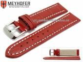 Uhrenarmband XL Sanford 22mm rot Leder Alligator-Prägung helle Naht von Meyhofer (Schließenanstoß 20 mm)