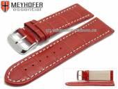 Uhrenarmband Petare 28mm rot Leder Alligator-Prägung helle Naht von Meyhofer (Schließenanstoß 26 mm)