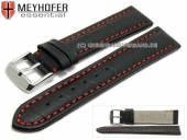 Uhrenarmband Petare Special 20mm schwarz Leder Alligator-Prägung rote Naht von Meyhofer (Schließenanstoß 18 mm)
