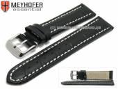 Uhrenarmband XL Sanford 24mm schwarz Leder Alligator-Prägung helle Naht von Meyhofer (Schließenanstoß 22 mm)