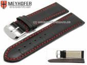 Uhrenarmband Petare Special 26mm schwarz Leder Alligator-Prägung rote Naht von Meyhofer (Schließenanstoß 24 mm)