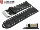 Uhrenarmband Petare 30mm schwarz Leder Alligator-Prägung helle Naht von Meyhofer (Schließenanstoß 28 mm)