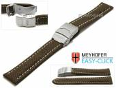 Meyhofer EASY-CLICK Uhrenband Hudson 22mm dunkelbraun Textil-Look helle Naht mit Faltschließe (Schließenanstoß 20 mm)