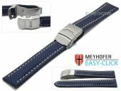Meyhofer EASY-CLICK Uhrenband Hudson 24mm mittelblau Textil-Look helle Naht mit Faltschließe (Schließenanstoß 22 mm)