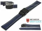 Meyhofer EASY-CLICK Uhrenband Huron 24mm mittelblau Textil-Look helle Naht mit Faltschließe (Schließenanstoß 22 mm)