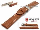 Uhrenarmband XL Treffurt 24mm hellbraun Leder Alligator-Prägung Butterflyfaltschließe MEYHOFER (Schließenanstoß 22 mm)