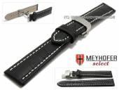 Uhrenarmband XL Treffurt 22mm schwarz Leder Alligator-Prägung Butterflyfaltschließe MEYHOFER (Schließenanstoß 20 mm)