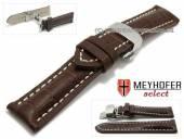 Uhrenarmband XS Pirmasens 22mm dunkelbraun Leder Alligator-Präg. Butterflaltschließe MEYHOFER (Schließenanstoß 20 mm)