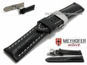 Uhrenarmband XS Pirmasens 22mm schwarz Leder Alligator-Prägung Butterflaltschließe MEYHOFER (Schließenanstoß 20 mm)