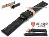 Uhrenarmband Cumiana 20mm schwarz Leder helle Naht roségoldfarbene Faltschließe von MEYHOFER (Schließenanstoß 18 mm)