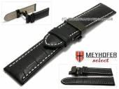 Uhrenarmband  Brisbane 26mm schwarz Allig.-Präg. helle Naht Faltschließe schwarz von Meyhofer (Schließenanstoß 24 mm)