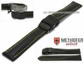 Uhrenarmband Tokyo 20mm schwarz Leder glatt Faltschließe schwarz gelbe Naht von MEYHOFER (Schließenanstoß 18 mm)