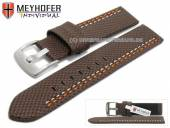 Uhrenarmband Oldenburg 24mm dunkelbraun Synthetik Textillook 2farbige Doppelnaht MEYHOFER (Schließenanstoß 24 mm)