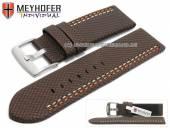 Uhrenarmband Oldenburg 26mm dunkelbraun Synthetik Textillook 2farbige Doppelnaht MEYHOFER (Schließenanstoß 26 mm)