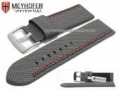 Uhrenarmband Oldenburg 26mm grau Synthetik Textillook 2farbige Doppelnaht MEYHOFER (Schließenanstoß 26 mm)