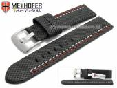 Uhrenarmband Oldenburg 22mm schwarz Synthetik Textillook 2farbige Doppelnaht MEYHOFER (Schließenanstoß 22 mm)