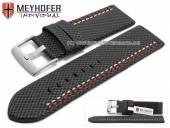 Uhrenarmband Oldenburg 26mm schwarz Synthetik Textillook 2farbige Doppelnaht MEYHOFER (Schließenanstoß 26 mm)