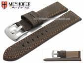 Uhrenarmband Riga 24mm dunkelbraun Synthetik Textillook orange Naht von MEYHOFER (Schließenanstoß 22 mm)