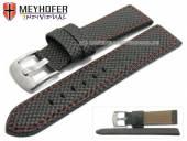 Uhrenarmband Riga 22mm schwarz Synthetik Textillook rote Naht von MEYHOFER (Schließenanstoß 20 mm)