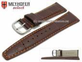 Uhrenarmband Savona 17mm dunkelbraun Leder Alligator-Prägung orangefarbene Naht von MEYHOFER (Schließenanstoß 14 mm)