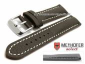 Uhrenarmband Lanark 17mm dunkelbraun Leder genarbt matt helle Naht von MEYHOFER (Schließenanstoß 16 mm)