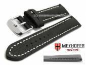 Uhrenarmband Lanark 17mm schwarz Leder genarbt matt helle Naht von MEYHOFER (Schließenanstoß 16 mm)