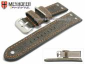 Uhrenarmband Ansbach 26mm antikschwarz Leder Aviator-Look orange Naht von Meyhofer (Schließenanstoß 24 mm)