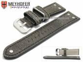 Uhrenarmband Ansbach 26mm antikschwarz Leder Aviator-Look Naht schwarz von Meyhofer (Schließenanstoß 24 mm)