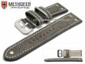 Uhrenarmband Ansbach 26mm antikschwarz Leder Aviator-Look helle Naht von Meyhofer (Schließenanstoß 24 mm)
