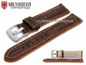 Uhrenarmband Estero 17mm dunkelbraun Leder Alligator-Prägung orange Naht von Meyhofer (Schließenanstoß 16 mm)
