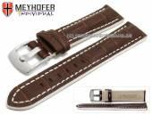 Uhrenarmband Estero 19mm dunkelbraun Leder Alligator-Prägung weiße Naht von Meyhofer (Schließenanstoß 18 mm)