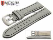 Uhrenarmband Estero 17mm grau Leder Alligator-Prägung schwarze Naht von Meyhofer (Schließenanstoß 16 mm)