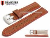 Uhrenarmband Estero 17mm hellbraun Leder Alligator-Prägung rote Naht von Meyhofer (Schließenanstoß 16 mm)