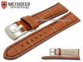 Uhrenarmband Estero 17mm hellbraun Leder Alligator-Prägung schwarze Naht von Meyhofer (Schließenanstoß 16 mm)
