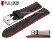 Uhrenarmband Estero 17mm schwarz Leder Alligator-Prägung rote Naht von Meyhofer (Schließenanstoß 16 mm)