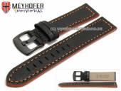 Uhrenarmband Neuburg 24mm schwarz Leder genarbt orange Naht von Meyhofer (Schließenanstoß 22 mm)