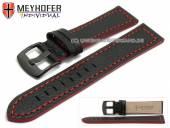 Uhrenarmband Neuburg 24mm schwarz Leder genarbt rote Naht von Meyhofer (Schließenanstoß 22 mm)