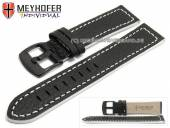 Uhrenarmband Neuburg 24mm schwarz Leder genarbt weiße Naht von Meyhofer (Schließenanstoß 22 mm)
