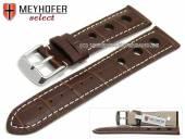 Uhrenarmband Topeka 17mm dunkelbraun Alligator-Prägung Racing-Look weiße Naht von MEYHOFER (Schließenanstoß 16 mm)