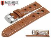 Uhrenarmband Topeka 17mm hellbraun Alligator-Prägung Racing-Look weiße Naht von MEYHOFER (Schließenanstoß 16 mm)
